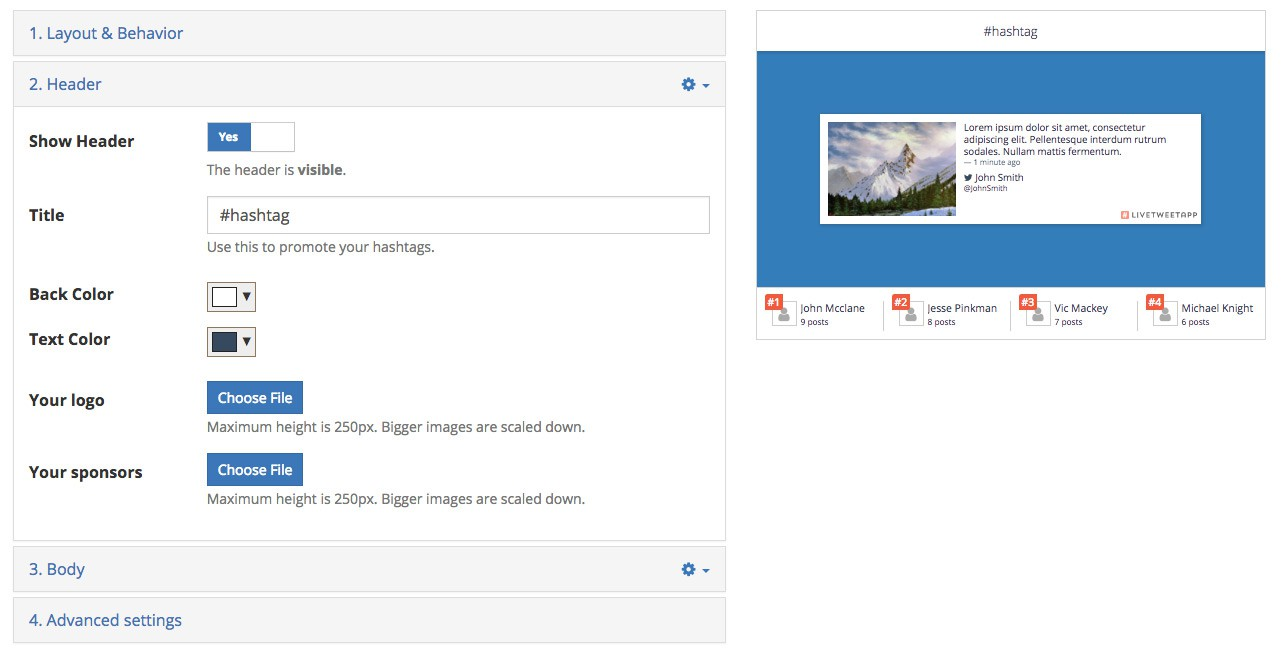 insert images in LiveTweetApp design page